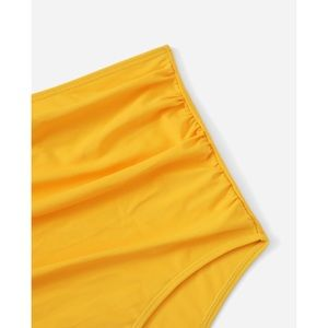 SHEIN Swim - Yellow Scoop Neck Lace Up High Waist Bikini Set 1X